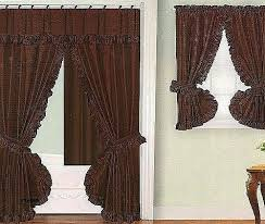 fascinating shower curtain and matching window curtain sets chocolate brown fabric double swag shower curtain with