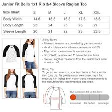 Bella Tee Size Chart Amazon Com New York City Pride Slim Fit Bella 3 4 Sleeve