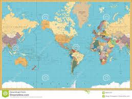 Retro Color America Centered Political World Map Stock Vector