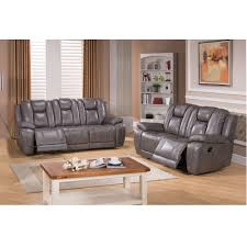 Reclining Living Room Furniture Sets Galaxy Grey Top Grain Leather Lay Flat Reclining Sofa And Loveseat