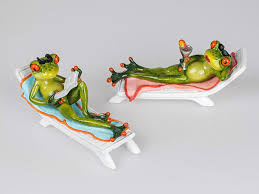 Frosch Deko Figuren Auf Liegestuhl Lustige Frösche Im Urlaub 2 X