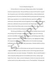 Sample Profile Essay Sol Food Pdf Food To Satisfy The