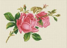 Pink Rose Color Chart Two Pink Roses Floral Counted Cross Stitch Pattern Chart