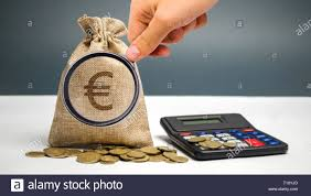 Budget Salary Calculator Money Bag With A Euro Sign And Calculator Family Or Company