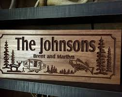camping signs rv address plaque camp fire wood carved signs personalized wood wall art cabin decor happy campers benchmark signs 53 on personalized wood wall art with camping wall art etsy
