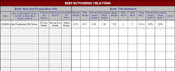 Seafood Yield Chart Beef Butchering Yield Form Chefs Resources