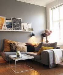 cheap home decor ideas for apartments. Living Room Interiors Inspiration Grey Walls Gray Sofa Mustard Yellow Accents White Floating Shelf With Picture Frames Cheap Home Decor Ideas For Apartments L