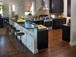 Kitchen Island Breakfast Bar Picture Of Dark Kitchen Island Breakfast Bar With Black Stools
