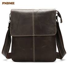 Casual <b>leather</b> cross-body bag vertical mens single shoulder head ...