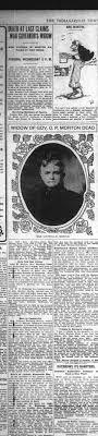 1907 Obit for Mrs Lucinda M Morton, widow of Govenor O P Morton (Oliver P  Morton) - Newspapers.com