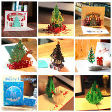 Details About Invitation Card Folding Christmas Decoration Pop Up 3d Greeting Cards Xmas Tree