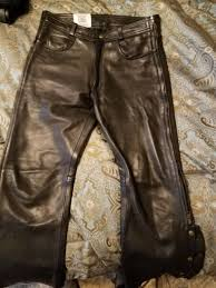 fox creek leather motorcycle over pants size 36 usa made black harley jeans 34
