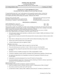 insurance agent resume objective sample insurance claims representative