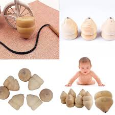 Wooden Spinning Top Game Natural Color Toy Kids Wood Spinning Top Spinner Gyro Wooden 25