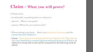 argumentative essay take notes ppt video online  4 claim what