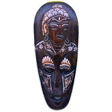 wooden african tribal face wall mask with buddha handpainting
