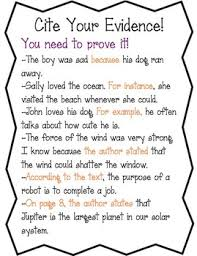 Citing Evidence Anchor Chart Cite Evidence Anchor Chart Worksheet
