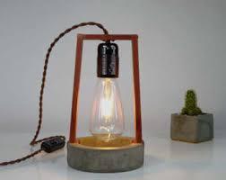 exposed bulb lighting. concrete table lamp desk wood copper exposed bulb lighting 0