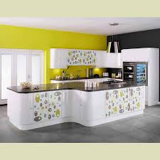 Simple Kitchen Decor Simple White And Yellow Kitchen Decor With Great Sectional