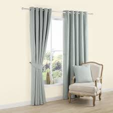 Carina Duck Egg Plain Woven Eyelet Lined Curtains W 228cm L