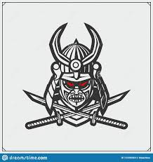 Samurai Warrior Design Samurai Warrior Mask Japanese Warrior Emblem Stock Vector