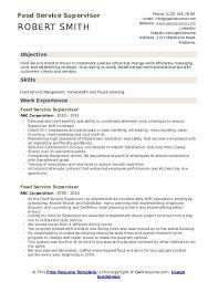 Food Service Skills Resume Food Service Supervisor Resume Samples Qwikresume