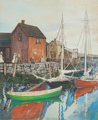 jane peterson gouache painting of motif 1 in rockport massachusetts