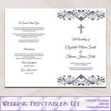 Catholic Wedding Ceremony Program Templates Catholic Wedding Program Template Diy Navy Blue Cross Ceremony
