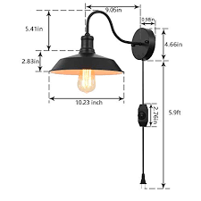 wall light fixture with 5 9 ft cord