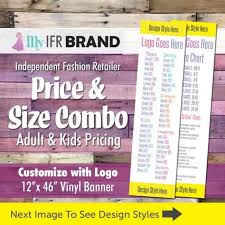 Llr Price List W Kids And Size Chart Vinyl Banner Combo