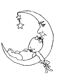 Kleurplaat Van Een Baby Ligt Te Slapen Op De Maan Kleurplaat