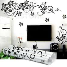 black flowers removable wall stickers wall decals mural home art
