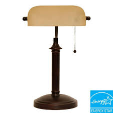 oil rubbed bronze bankers lamp with pull chain