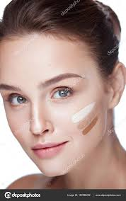 cosmetics closeup beautiful y female model with perfect natural makeup on white background portrait of attractive young woman with diffe shades of