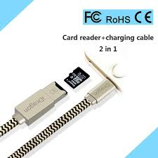 2 in 1 apple mfi certified lightning to usb cable micro sd card reader for ios