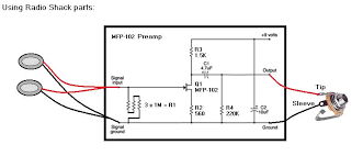 piezo preamp experiment cigar box nation to make the piezo pickups less sensitive and where to best locate them on my cbgs here is the circuit design i used all radio shack components