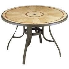 grosfillex 48 louisiana round table w metal legs umbrella hole pietra design bronze