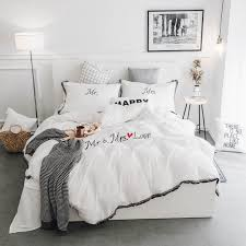 100 cotton quilt sets. Plain Sets White Pink Grey Tassels 100Cotton Bedding Sets Twin Queen King Size Duvet  Cover Bed To 100 Cotton Quilt 0