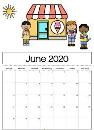 Cute June 2020 Calendar Printable For Kids June 2019