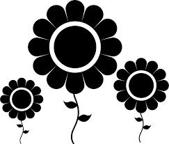 花のイラストフリー素材白黒モノクロno264白黒ひまわり3本