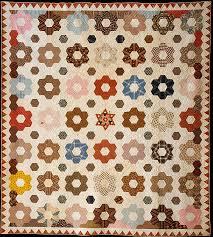 Rebecca Davis   Quilt, Hexagon or Honeycomb pattern   American ... & Quilt, Hexagon or Honeycomb pattern, Rebecca Davis, Cotton, American Adamdwight.com