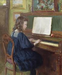 piano painting playing the piano by ernest higgins rigg