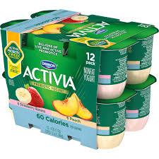 activia light strawberry banana peach nonfat yogurt 4 oz 12 ct walmart