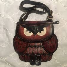 handbags large brown leather owl purse