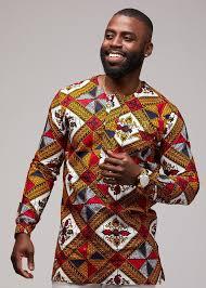 African Print Men S Shirt Designs Jafari Mens African Print Long Sleeve Traditional Shirt