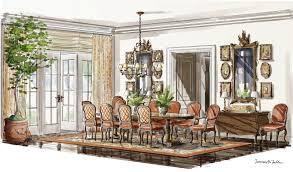 Marker Rendering Interior Design Traditional Dining Room Terence Mcfadden