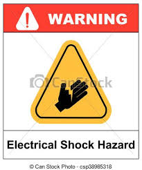 electrical shock hazard symbol vector ilration with warning sign in yellow triangle isolated on white
