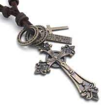 details about vintage celtic cross pendant adjustable brown leather cord mens necklace chain
