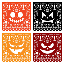 Papel Picado Designs For Day Of The Dead Halloween Papel Picado Design With Pumpkin Scary Faces Mexican
