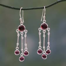 garnet chandelier earrings dreamer india handmade garnet chandelier earrings in sterling silver